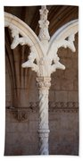 Architectural Details Of Jeronimos Monastery In Lisbon Beach Towel