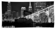 Black And White Cleveland Iconic Scene Beach Towel