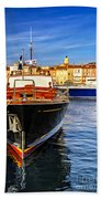 Boats At St.tropez Beach Towel