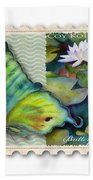 3 Cent Butterfly Stamp Beach Towel