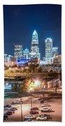 Charlotte City Skyline Night Scene Beach Towel