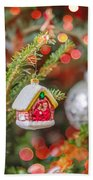 Christmas Tree Ornaments And Decorations Beach Towel