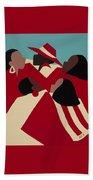 Crimson And Cream Beach Towel