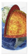 Cross Section Of Planet Earth Showing Beach Towel