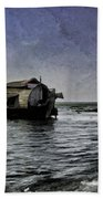 Digital Oil Painting - A Houseboat Moving Placidly Through A Coastal Lagoon In Alleppey Beach Towel