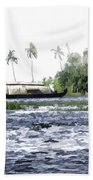 Digital Oil Painting - A Houseboat On Its Quiet Sojourn Through The Backwaters Beach Towel