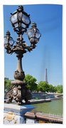 Eiffel Tower And Bridge On Seine River In Paris Beach Towel