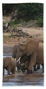 Elephants Crossing The River Beach Towel