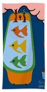 3 Fish In A Tub Beach Towel