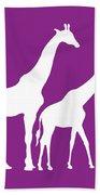 Giraffe In Purple And White Beach Towel