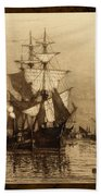 Historic Seaport Schooner Beach Towel by John Stephens