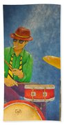 Jazz Drummer Beach Towel