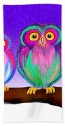 3 Little Owls In The Moonlight Beach Towel