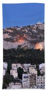 Lycabettus Hill During Dusk Time Beach Towel
