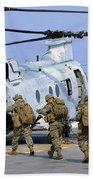 Marines Board A Ch-46e Sea Knight Beach Towel