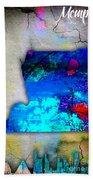Memphis Map And Skyline Watercolor Beach Towel
