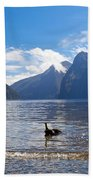 Milford Sound And Mitre Peak In Fjordland Np Nz Beach Towel