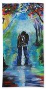 Moonlight Kiss Beach Towel by Leslie Allen