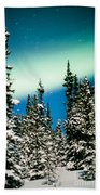 Northern Lights Aurora Borealis And Winter Forest Beach Towel