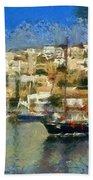 Panoramic Painting Of Mikrolimano Port Beach Towel