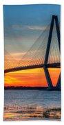 Ravenel Bridge Twilight Twinkle Beach Towel