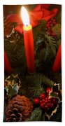 3 Red Candles Beach Towel