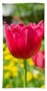 Red Tulips On The Green Background Beach Towel