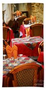 Restaurant Patio In France Beach Towel by Elena Elisseeva