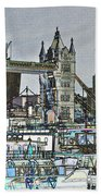 River Thames Sketch Beach Towel