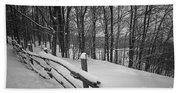 Rural Winter Scene With Fence Beach Sheet