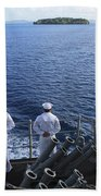 Sailors Man The Rails Aboard Beach Towel
