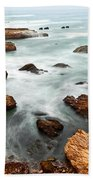 The Jagged Rocks And Cliffs Of Montana De Oro State Park In California Beach Towel