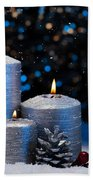 Three Silver Candles In Snow  Beach Towel