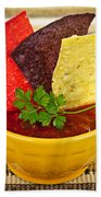 Tortilla Chips And Salsa Beach Towel by Elena Elisseeva