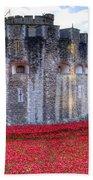 Tower Of London Poppies Beach Towel