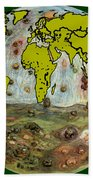 World Map And Earth Beach Towel