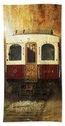 321 Antique Passenger Train Car Textured Beach Towel
