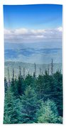 A Wide View Of The Great Smoky Mountains From The Top Of Clingma Beach Towel