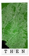 Athens Street Map - Athens Greece Road Map Art On Color Beach Towel