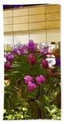 Beautiful Flowers Inside The Changi Airport In Singapore Beach Towel