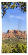 Cathedral Rock Framed By Juniper In Sedona Arizona Beach Towel