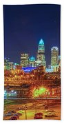 Charlotte City Skyline Night Scene Beach Towel
