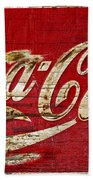 Coca Cola Sign Cracked Paint Beach Towel