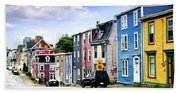Colorful Houses In St. John's Beach Towel