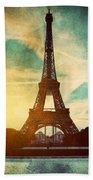Eiffel Tower In Paris Fance In Retro Style Beach Towel by Michal Bednarek