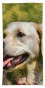 Golden Retriever Portrait Beach Towel