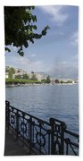 Lake Front With Trees Beach Towel