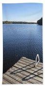 Lake In Autumn Beach Towel