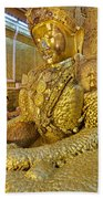 4 M Tall Sitting Buddha With Thick Layer Of Golden Leaves In Mahamuni Pagoda Mandalay Myanmar Beach Towel