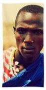 Maasai Man Portrait In Tanzania Beach Towel